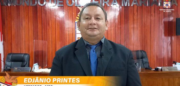 Vereador Edjânio Printes (MDB), solicita ao sindicato dos produtores rurais do município informações sobre o termo em que foi cedido o terreno do parque de exposição agropecuário